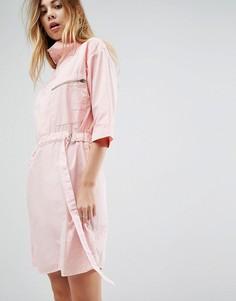 Платье мини с молнией и карманами ASOS - Розовый
