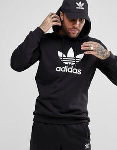 Черный худи с логотипом-трилистником adidas Originals adicolor CW1240 - Черный