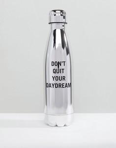 Серебристая бутылка для воды из нержавеющей стали ALDO Dont Quit Your Daydream - Серебряный