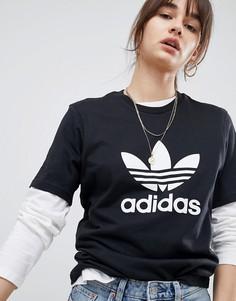 Свободная черная футболка adidas Originals adicolor - Черный