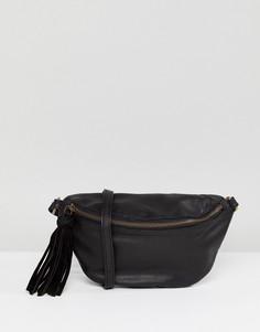 Классическая кожаная сумка-кошелек на пояс ASOS - Черный