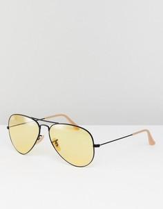 Солнцезащитные очки-авиаторы с желтыми стеклами 58 мм Ray-Ban 0RB3025 - Черный