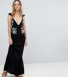 Пляжное платье макси с цветочной вышивкой ASOS TALL - Черный