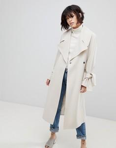 Пальто с поясом ASOS - Кремовый