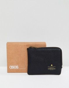 Черный кошелек на молнии с тисненым логотипом ASOS - Черный