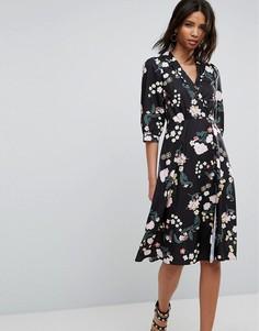 Платье с цветочным принтом и запахом Uttam Boutique - Мульти