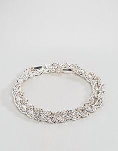 Серебристый браслет из двойной витой цепочки Chained & Able - Серебряный