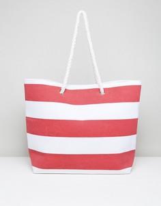 Красная пляжная сумка в полоску South Beach - Красный