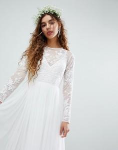 Платье макси с цветочной вышивкой на лифе ASOS EDITION Wedding - Белый