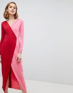 Платье макси колор блок с запахом ASOS - Мульти