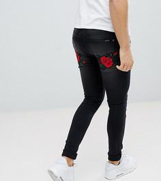 Черные джинсы скинни с вышивкой роз и ласточки Liquor N Poker - Черный