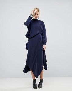 Платье миди прямого кроя с поясом ASOS WHITE - Синий
