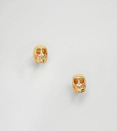 Серьги-гвоздики в форме черепа из позолоченного серебра Reclaimed Vintage Inspired - Серебряный