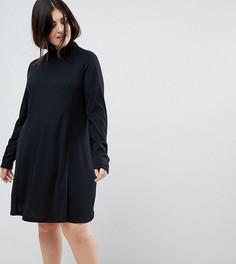 Платье-трапеция в рубчик с воротником поло и длинными рукавами ASOS CURVE - Черный