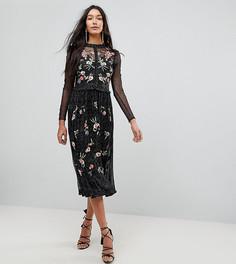 Приталенное премиум-платье из тюля с вышивкой и отделкой металлик Frock And Frill Tall - Черный