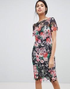 Кружевное платье-футляр с цветочным принтом Paper Dolls - Мульти