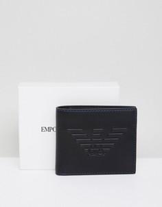 Черный бумажник с тисненым логотипом Emporio Armani - Черный