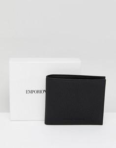 Черный кожаный бумажник с логотипом Emporio Armani - Черный