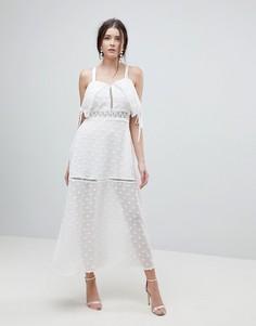 Платье макси с перекрестами на спине Lioness - Белый