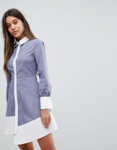 Платье-рубашка с контрастной отделкой и асимметричным краем Fashion Union - Серый