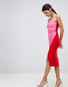 Платье-футляр с лифом-бандо и контрастной юбкой с запахом Vesper - Мульти