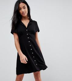Короткое приталенное платье на пуговицах ASOS PETITE - Черный