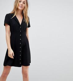 Короткое приталенное платье на пуговицах ASOS TALL - Черный