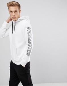 Белый худи с камуфляжным принтом и логотипом Hollister - Белый