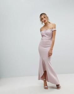 Платье макси с вышитым кружевом Lipsy - Розовый