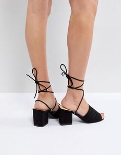 Босоножки на блочном каблуке Public Desire Paddington - Черный