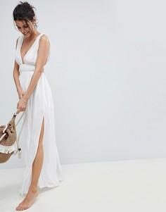 Пляжное платье макси с вырезом в греческом стиле ASOS - Белый