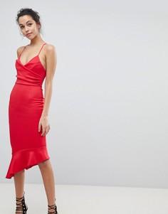 Платье миди с оборкой на подоле ASOS - Красный