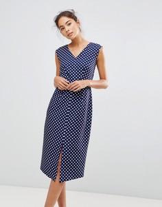 Платье-футляр в горошек с запахом Closet London - Мульти