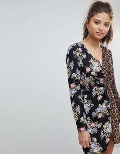 Платье мини с глубоким вырезом, цветочным и леопардовым принтом Missguided - Черный