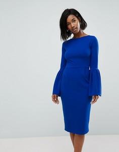 Платье-футляр с оборками на рукавах Club L - Синий