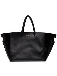 large slogan embossed tote bag Sacai