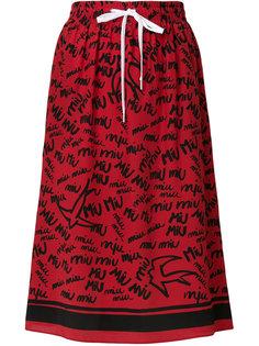 юбка с принтом-граффити Miu Miu