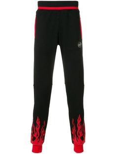 спортивные брюки с узором пламени  Philipp Plein