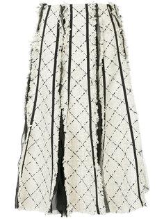 клетчатая юбка букле средней длины Sacai