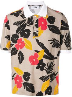 футболка-поло с тропическим принтом  MSGM