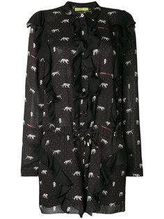 платье-рубашка с оборками и принтом Versace Jeans