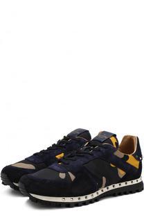 Текстильные кроссовки Rockrunner с замшевой отделкой Valentino