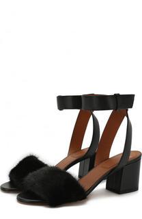 Кожаные босоножки с отделкой из меха норки Givenchy
