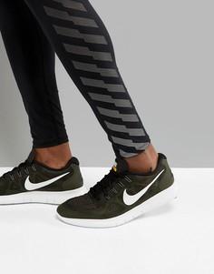 Кроссовки цвета хаки Nike Running Free Run 2017 880839-008 - Зеленый
