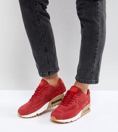 Красные кроссовки с замшевыми вставками на резиновой подошве Nike Air Max 90 - Красный