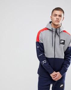 Худи серого цвета на молнии с принтом Nike Air 886044-092 - Серый