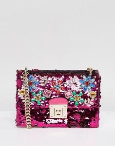 Сумка через плечо с пайетками и цветочной отделкой из камней ALDO - Розовый
