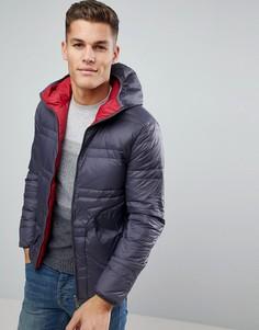 Серо-красная двусторонняя пуховая куртка United Colors of Benetton - Черный