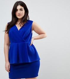 Платье мини с баской и глубоким вырезом ASOS CURVE - Синий