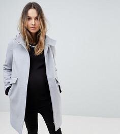 Узкое пальто с капюшоном и молнией ASOS MATERNITY - Серый
